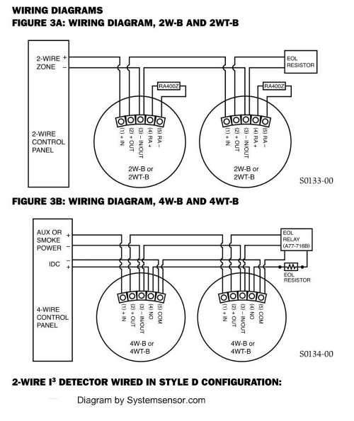 Hardwired smoke detectors. System Sensor alarm wiring.