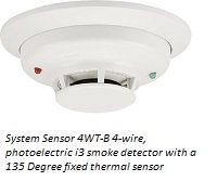 System Sensor 4WT-B 4-wire, photoelectric i3 smoke detector with a 135 Degree fixed thermal sensor