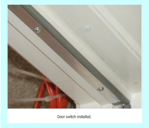 Magnetic door sensor installed