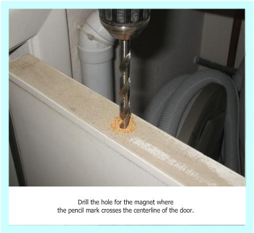 Drilling at door magnet location