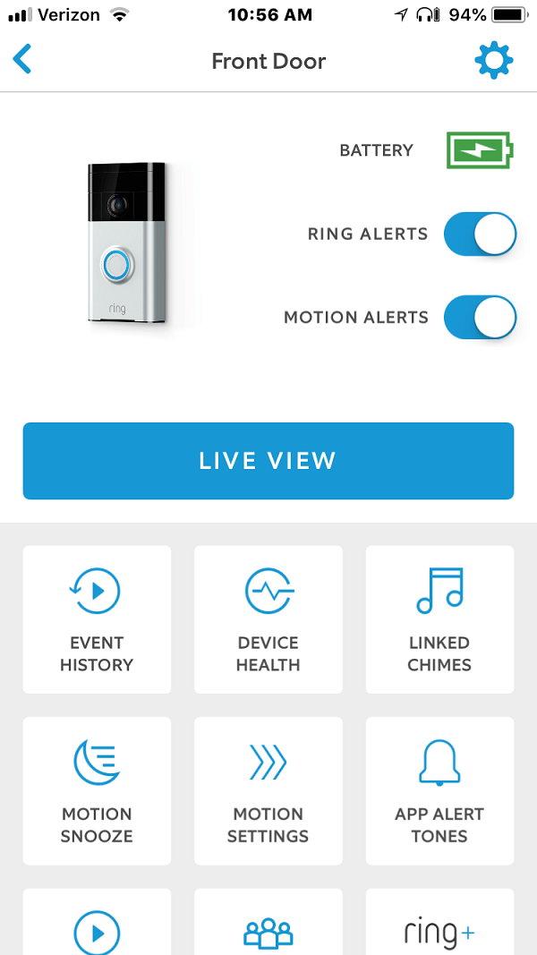 "Screenshot of Ring App ""Live View"" Button"