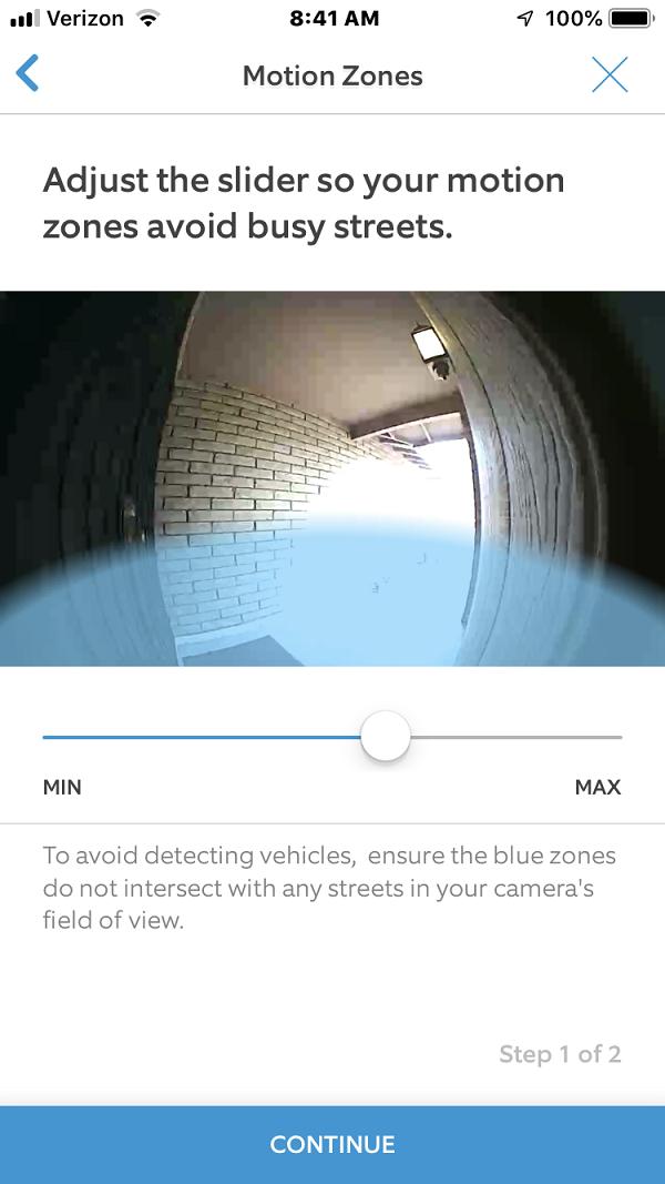 Motion Detection Setup Screen