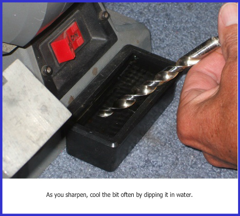Drill bit sharpening, dipping bit in water