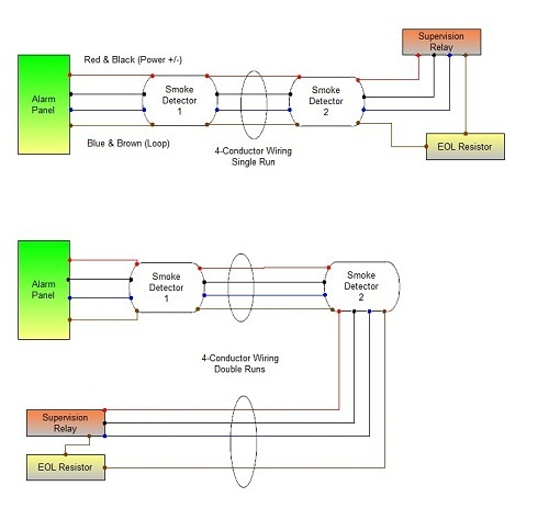 System Sensor 4 wire smoke detector diagrams